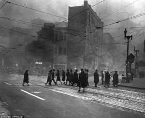 Downton Pittsburgh in the 50s. Very smoggy.