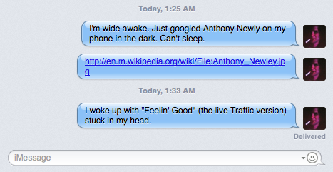 screenshot of iMessage.